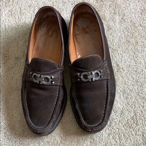 Men's Ferragamo brown suede loafers